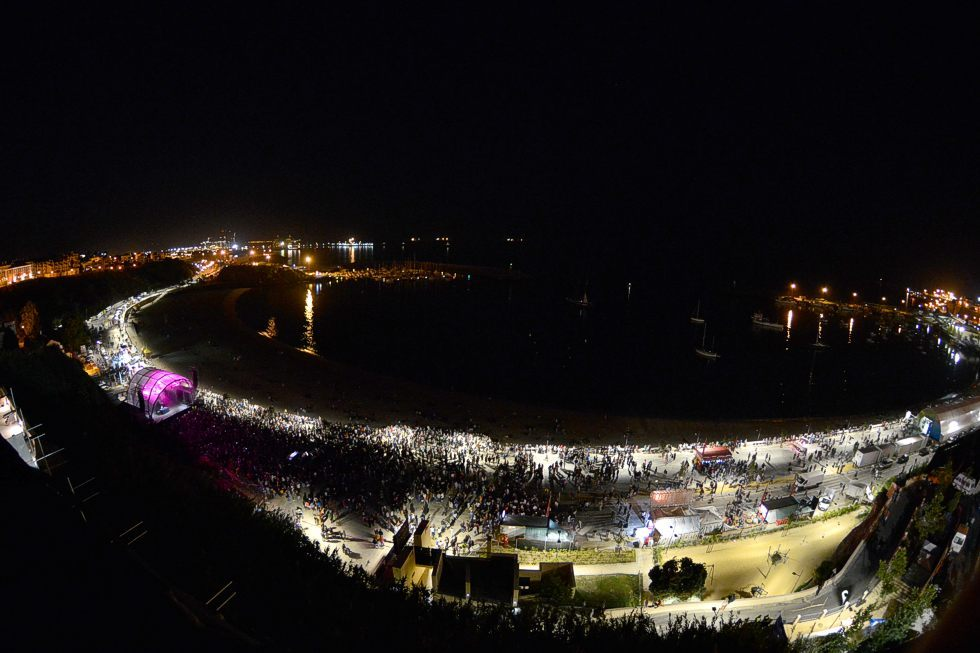 Beachfront stage at night